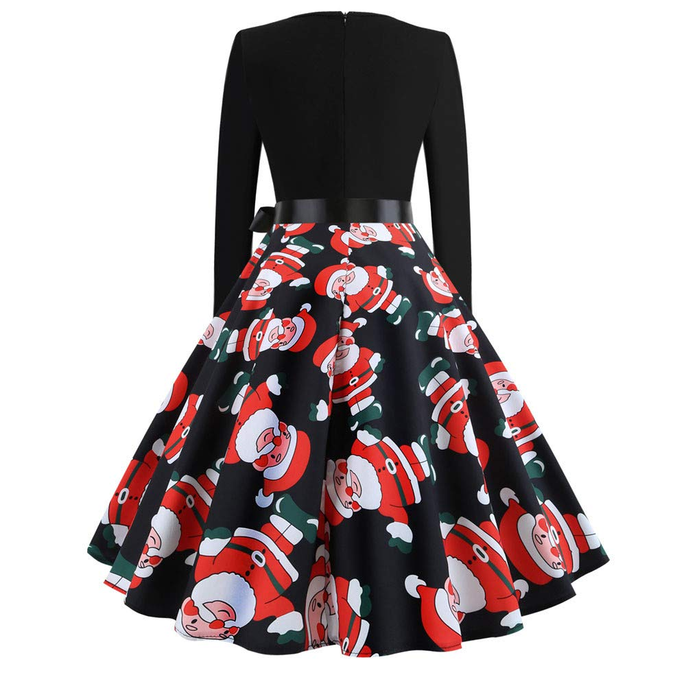 15f834fed7af Amazon.com: 2018🎅 Christmas Women's Holiday Vintage Black Evening Prom  Costume Swing Dress,Girls 3/4 Sleeves Back Zipper Novelty Dress: Clothing