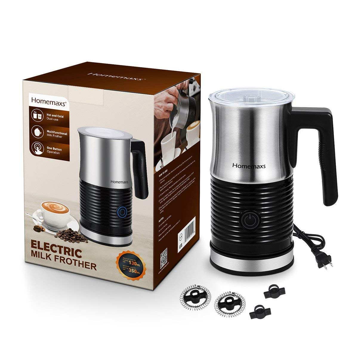 Milk Frother, Homemaxs Electric Milk Frother & Warmer with Hot or Cold Function, Anti-hot Base & Non-Stick Interior Perfect Foam for Coffee, Hot Chocolate, Cappuccino(Black) by Homemaxs (Image #7)
