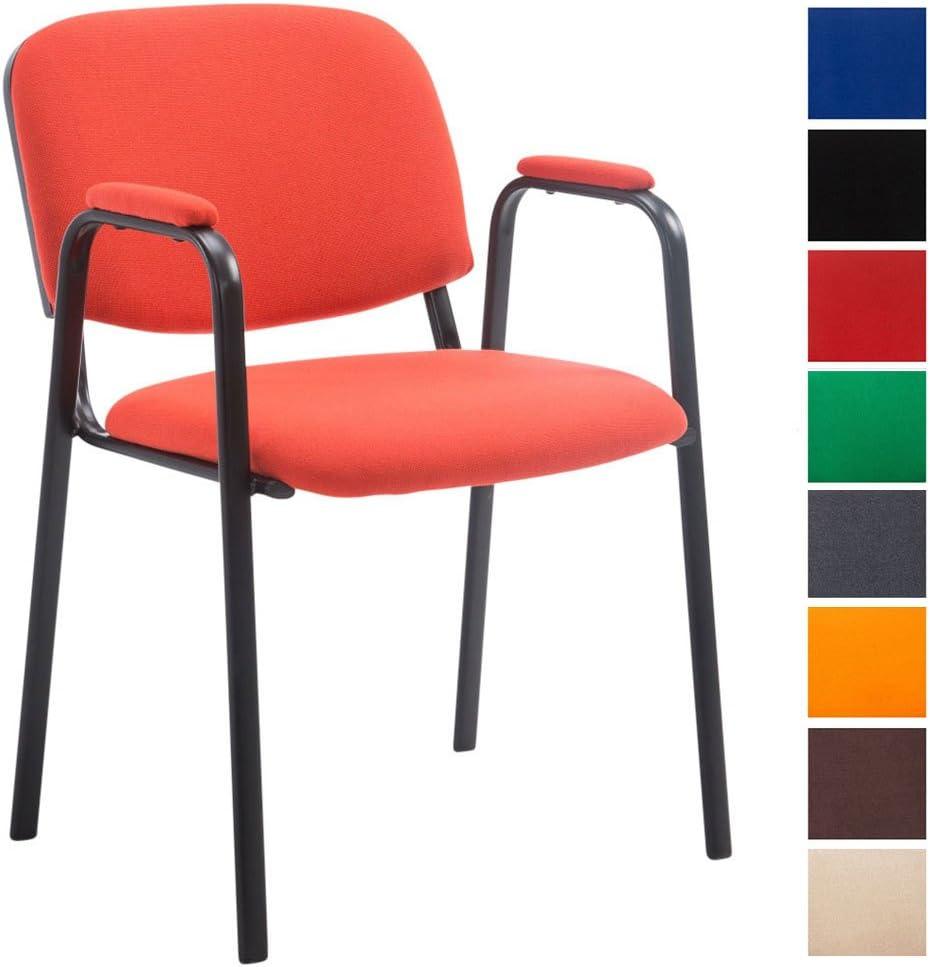 CLP Silla Confidente Ken Pro Tapizada En Tela I Silla De Conferencia con Base De Metal Negro I Silla De Oficina Sin Ruedas I Color: Rojo