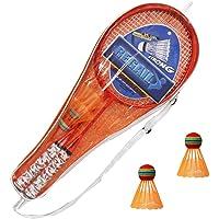 Yijuhua Raquetas de Bádminton para Niños, con 2 Bádminton, Juegos Deportivos para Niños al Aire Libre, Verde/Amarillo/Naranja