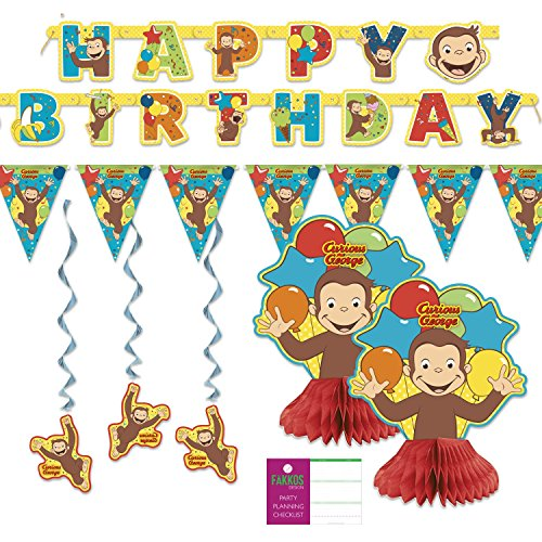 FAKKOS Design Curious George Party Decorations - Banner, Centerpieces, Hanging Decor ()