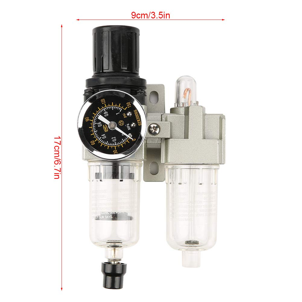 AC2010-02 500L//min G1//4 179cm Air Source Gas Treatment Unit Filter Pressure Regulator with Gauge with High Filtering Accuracy of 25um Air Filter Regulator
