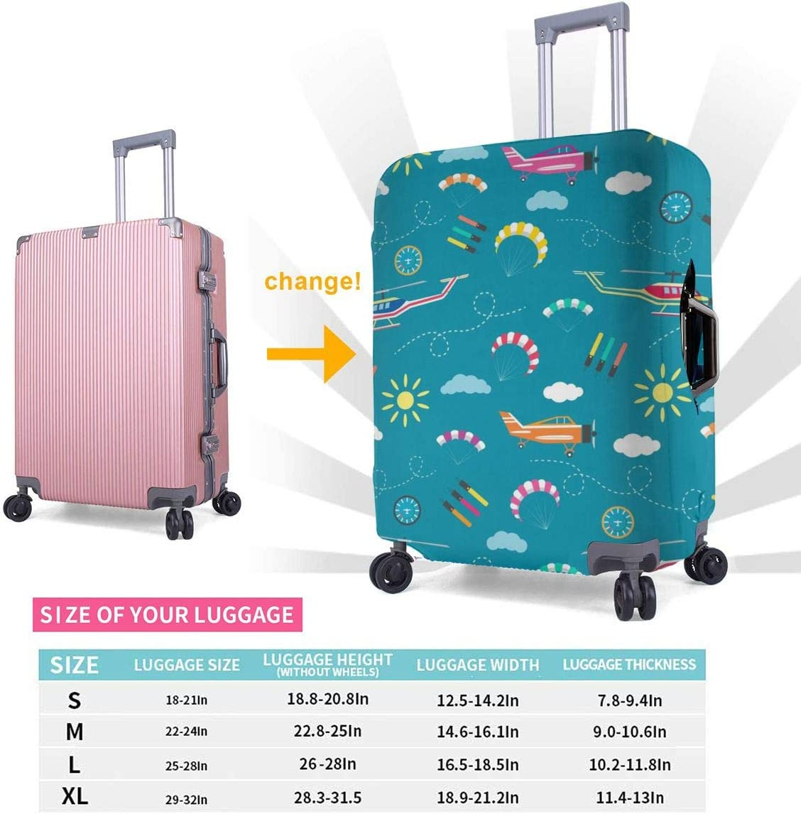 Plane Helicopter Parachute Travel Luggage Cover Suitcase Protector Washable Zipper Baggage Cover