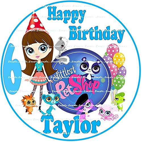 LITTLEST PET SHOP : ROUND Personalized edible Birthday Cake topper premium frosting sheets ()