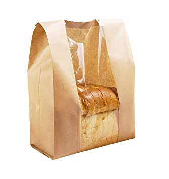 Ecomojiware Paper Bread Loaf Bag Kraft Food Packaging Storage Bakery Bag with Front Window Pack of 50 (LY-DZ-10)