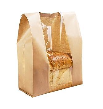 Bolsas de papel Kraft de papel para tostadas pan bolsas ventana oleofóbico bolsas de papel Kraft envases de alimentos LY-DZ-10: Amazon.es: Hogar