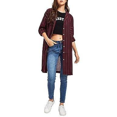 Chaquetas Mujer Primavera Otoño Largos Flecos Camisa Abrigos Elegantes Manga Larga Retro De Solapa Botón Anchas Casual Hipster Blusas Outerwear: Amazon.es: ...