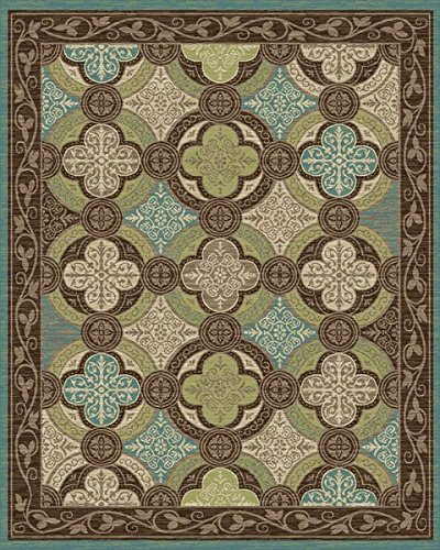 Cheap Mayberry Rugs BW31459 BRN/Turq Brook Wood Area Rug, Brown/Turquoise, 8′ x 10′