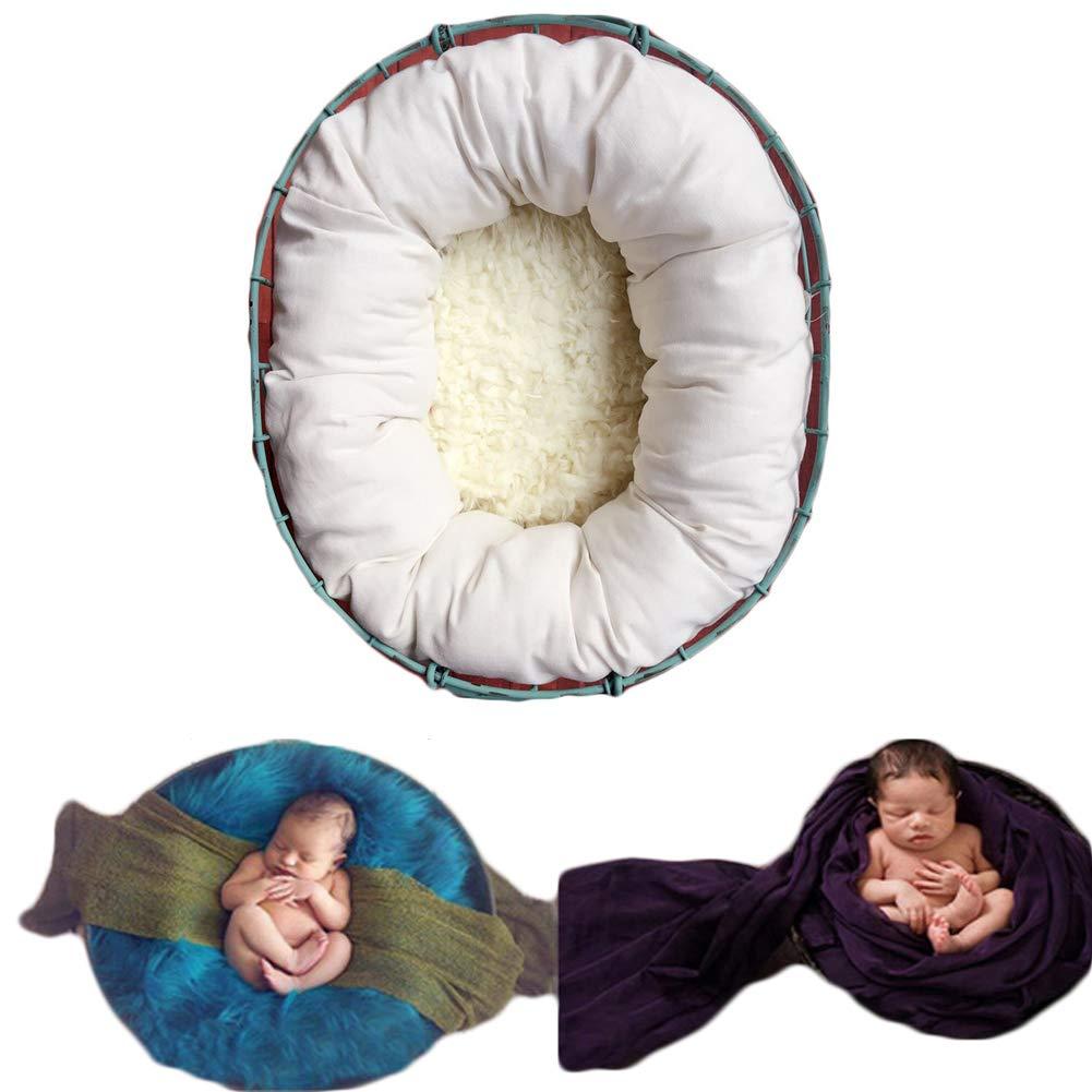 Baby Photography Props Basket Filler Newborn Boy Girl Photo Shoot Baskets Stuffer Posing Accessories (White)
