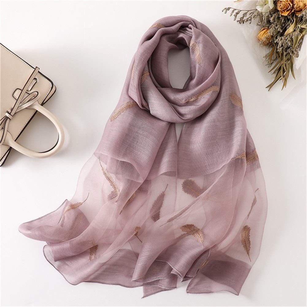 Dianyejiancai Beach Shawl for Women Embroidery Long Decor Scarves (Color : Lotus Root Purple) by Dianyejiancai