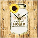 3dRose dc_128555_1 Country Rustic Mason Jar with Sunflower Home Sweet Home Desk Clock, 6 by 6-Inch For Sale