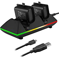 Moko Xbox One/One S Controller Charger Dock Kit 2 x 800mAh Rechargeable Battery Packs Charging Station for Xbox One One S One X Xbox One Elite Controllers - Black