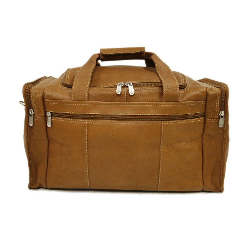One Size Piel Leather Travel Duffel with Side Pockets Black
