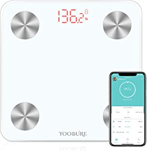 Bluetooth Body Fat Scale, Smart Digital Bathroom Weight Scale with Tempered Glass Platform, Body Composition Analyzer Health Monitor Fat, BMI, BMR, Muscle Mass
