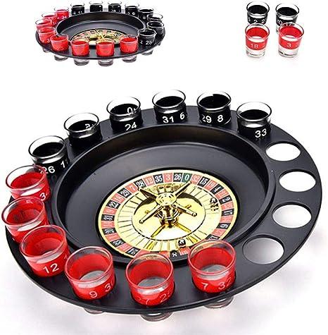Juego de ruleta para beber, con 16 vasos de chupito negros y rojos, 2 bolas de acero, decoración para beber en la barra y suministros de cocina, juegos de fiesta para adultos