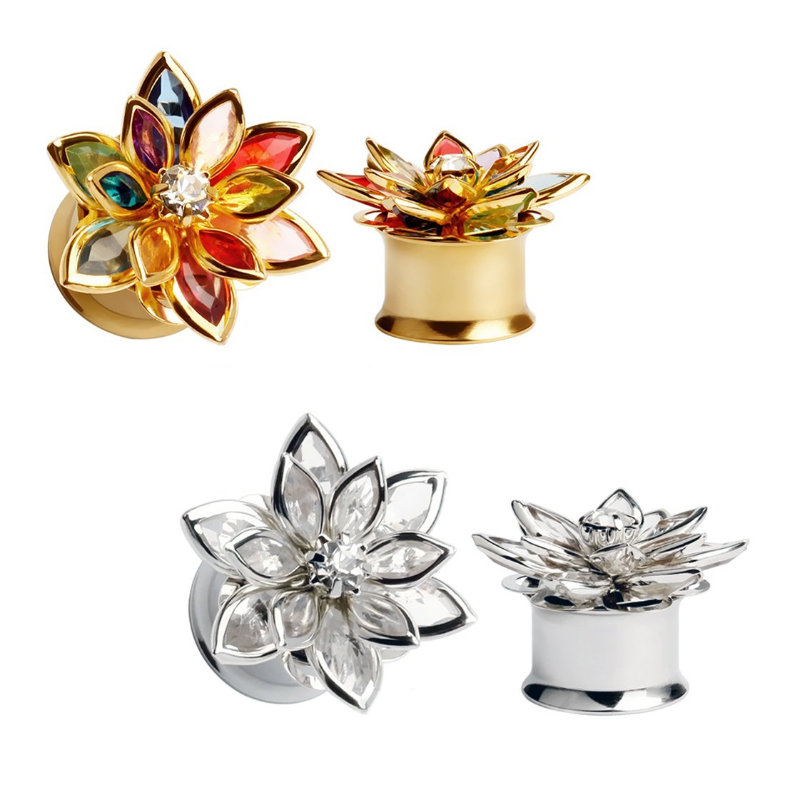 HuaCan 4pcs Flesh Tunnels,Ear Tunnels 3D petal Double Flared 316L Surgical Steel Silver+ Gold 6mm-14mm