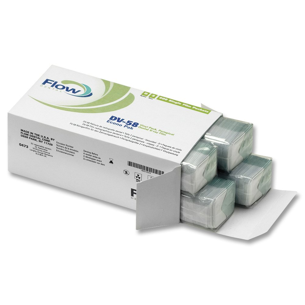 Flow 18204 600x DV-58 Size 2 Economy Pack Periapical Dental X-Ray Film Packets by Flow Dental