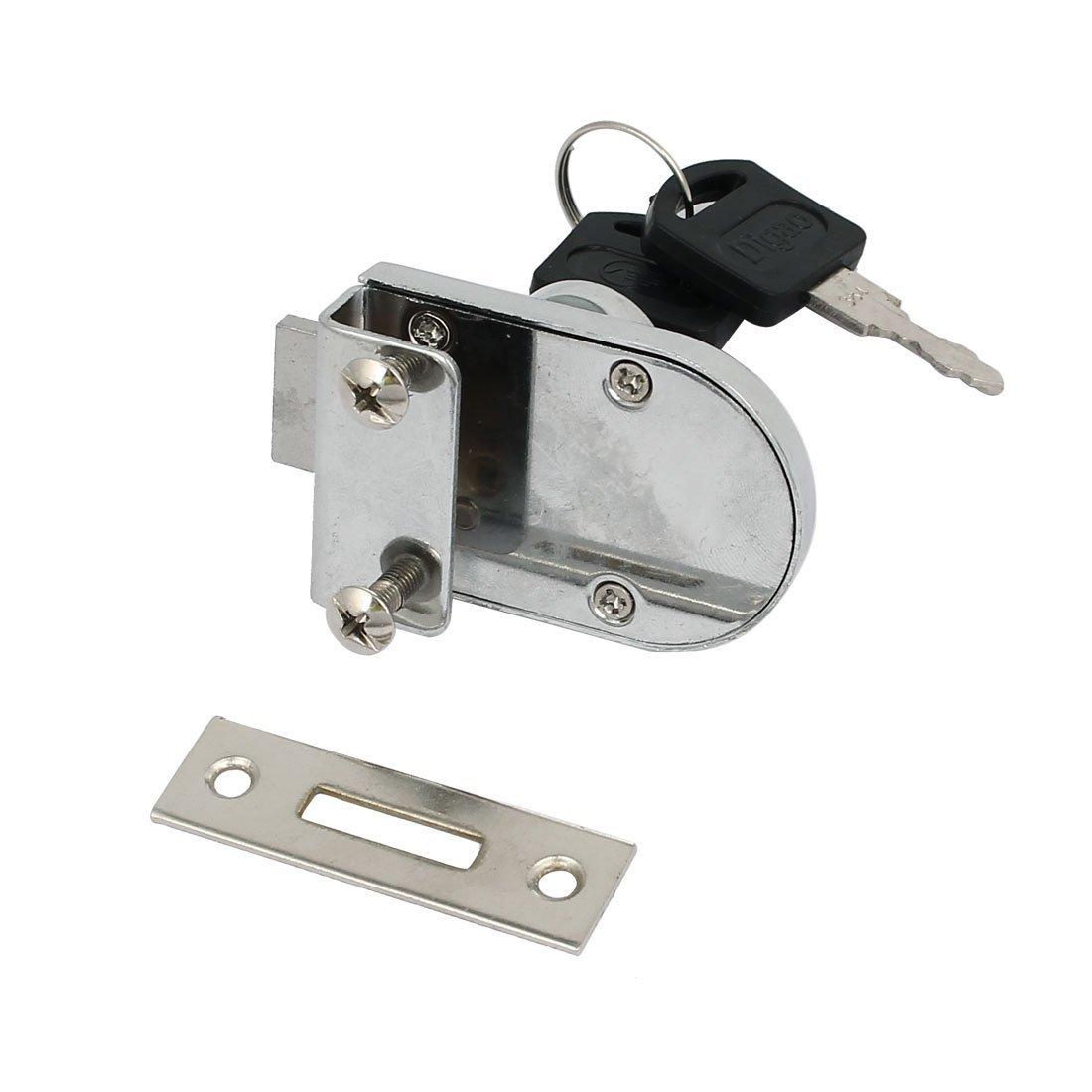 eDealMax puerta de vidrio del escaparate de 10 mm de espesor Tornillo de metal montado en la cerradura de la seguridad w 2 Llaves - - Amazon.com