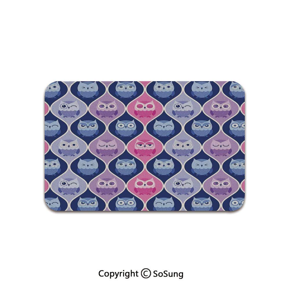 Owls Home Decor Area Rug,Tired Eyes Closed Sleeping Owls Silent Flight Kids Vertical Design Illustration,for Living Room Bedroom Dining Room,7'x 3',Pink Purple Blue by SoSung