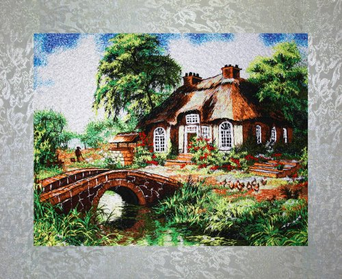 - PEA Designs, Cottage by Creek Wall Décor, Chinese Su Embroidery Pattern, Timeless Wall Hanging Artwork, Elegant Needlepoint Tapestry, Traditional Wall Art for Room Decoration, Unique Housewarming Gift Idea, 18-25/64
