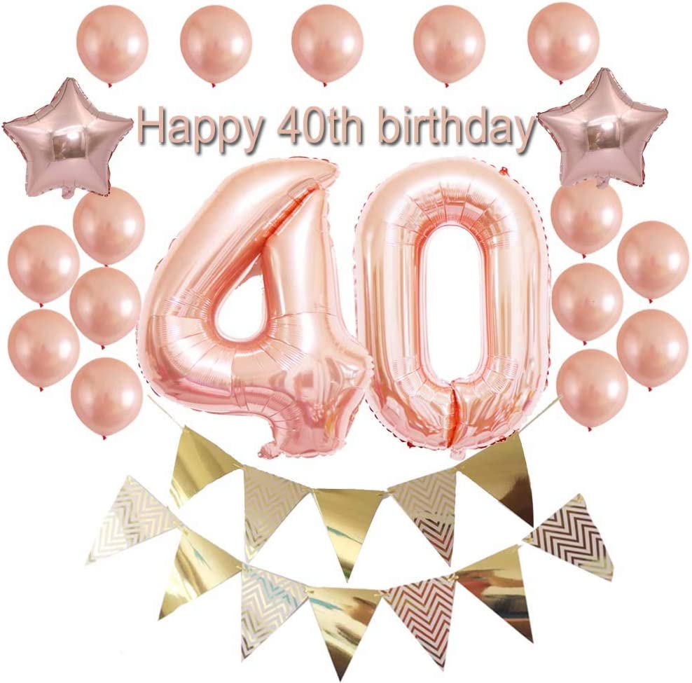 AGE 40 Happy 40th Birthday BLACK /& PINK Sparkle Party Range  Banners Decorations