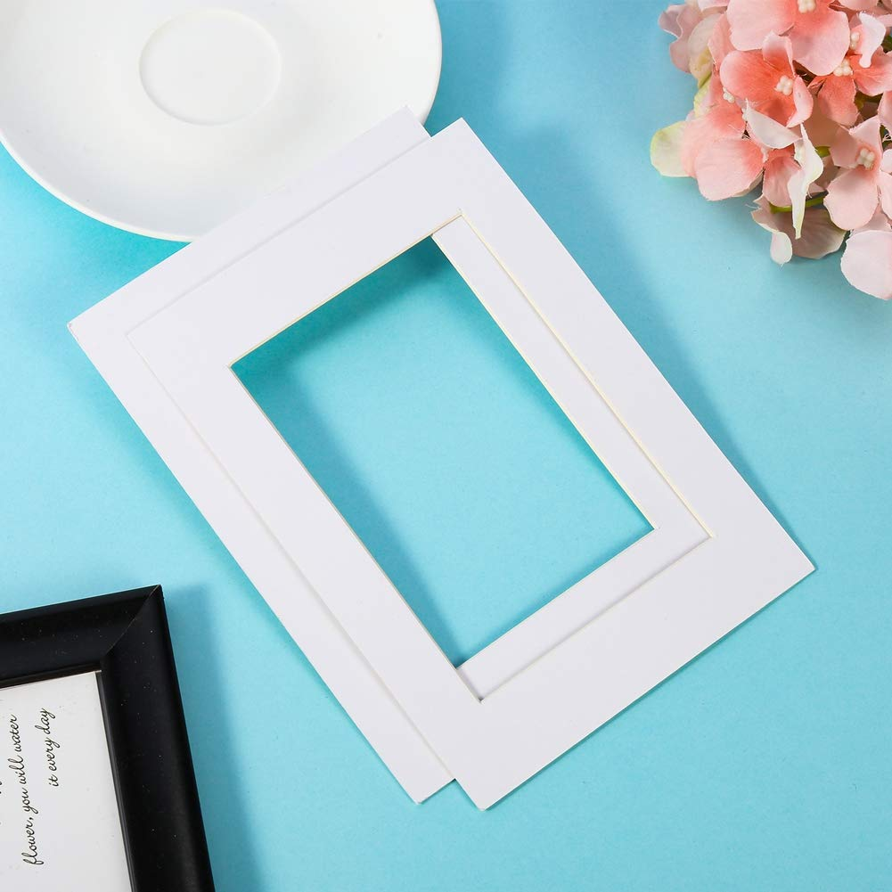 FIDGET PENCIL 15 Pack 5x7 White Picture Mats with Core Bevel Cut Frame Mattes for 4x6 Pictures