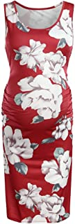 YESOT O-Neck Casual Pregnant Dresses Maternity Sleeveless Comfy Floral Print Dresses