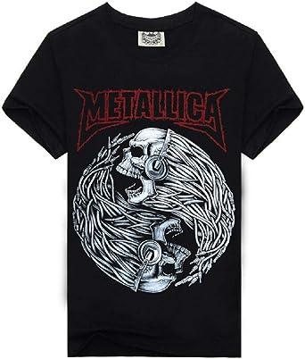 Camiseta metálica - Camisa - Camiseta - Hombre - niño - Manga Corta - Rock - Punk - Duro - Logo - Banda - Esqueleto - cráneo - Yin Yang - Color Negro: Amazon.es: Ropa y accesorios