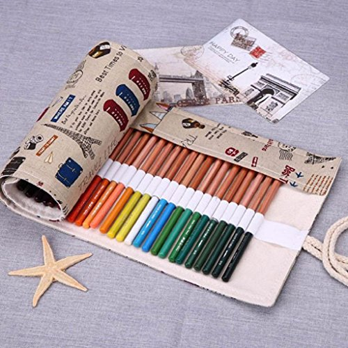Mikey Store Fashion Canvas Stationery Bag Pencil Case, Pencil Bag, Pen Pocket Makeup Organizer (Khaki) (Fashion Stationery)