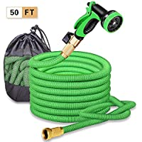 "SPECILITE 50ft Expandable Garden Hose, Flexible Water Hose with 3/4"" Solid Brass Connector & 10 Patterns Spray Nozzle"
