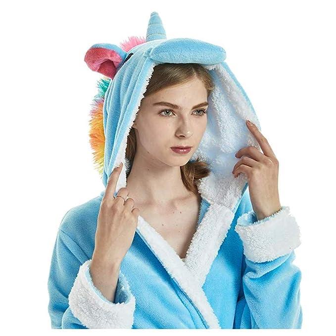 Albornoz Encapuchado, Unicornio Batas de Baño Onesie Adultos Pijamas de Animales Camisón de Dibujos Animados