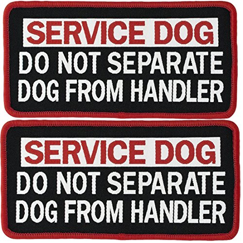 2 PCS Service Dog Do Not Separate Service Dog from Handler Tactical Military Morale Badge Emblem Embroidered Fastener Hook & Loop Patches Appliques for Harnesses Vests 4 x 2 Sized