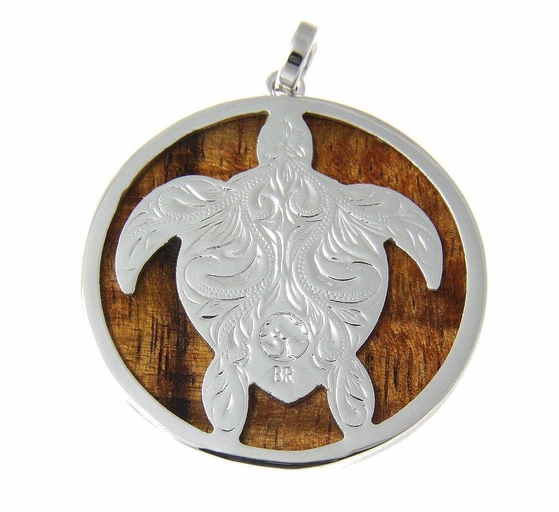 Koa Wood Hawaiian Circle Round Honu Sea Turlte Rhodium Brass Pendant Charm