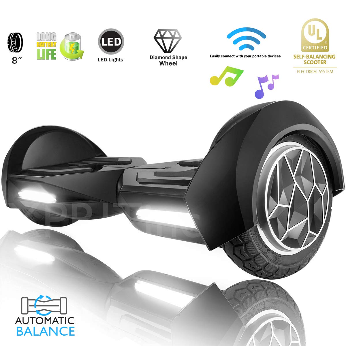 XPRIT 8'' Self-Balancing Hoverboard Outdoor and Street Type w/Bluetooth Speaker (Black)