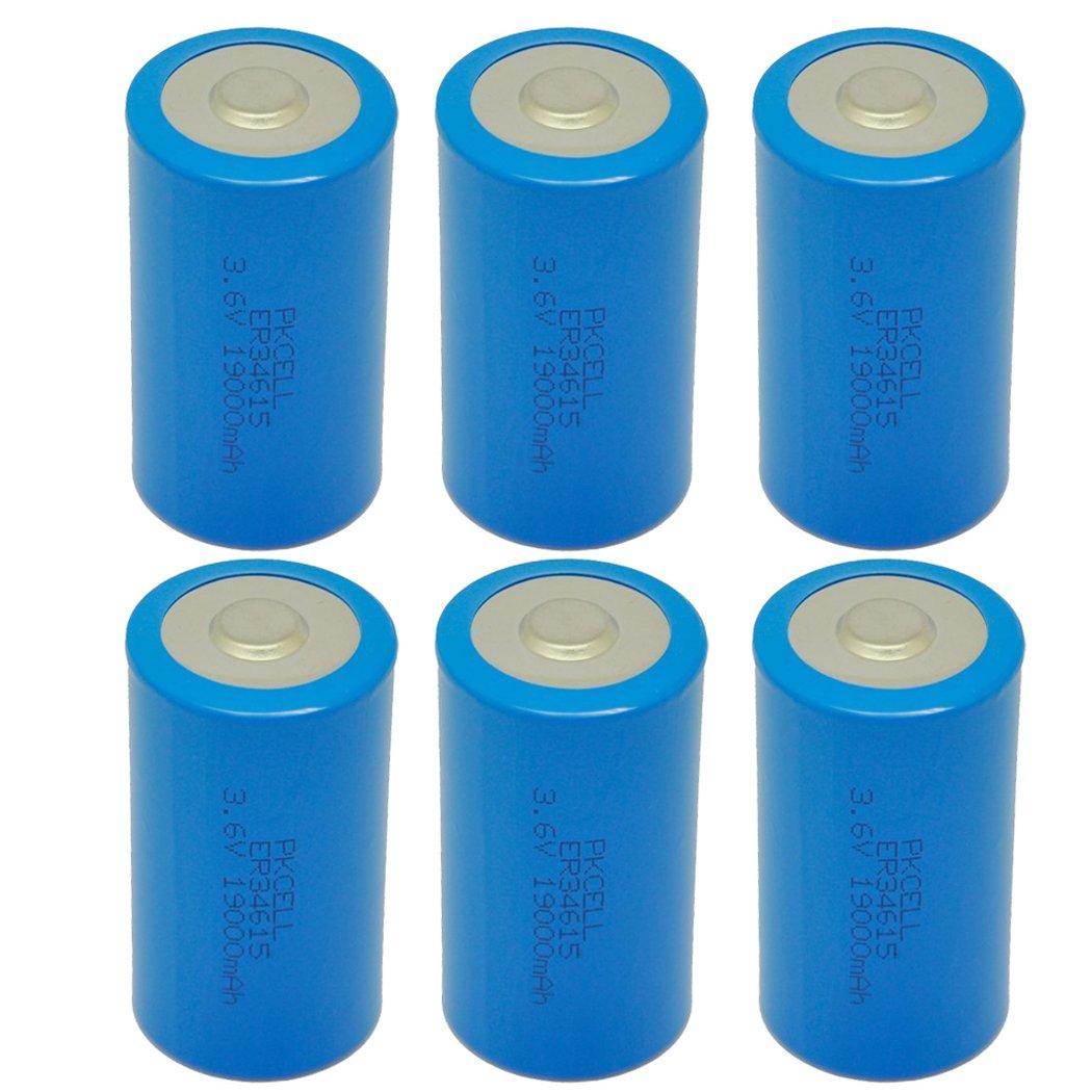 D Cell 3.6V ER34615 19000mAh Lithium Battery 6Pcs by PKCELL