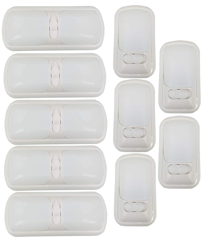 Class A Customs 10 Pack Combo 12 Volt RV Ceiling Light 5 Double & 5 Single Fixture White Lens Covers classacustoms.com