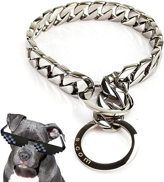 UTOPIAY Collar de Cadena para Perros de 32 mm con Anillo Grande ...