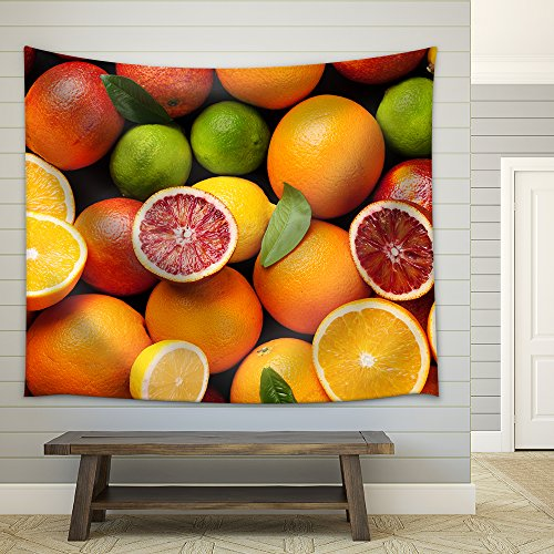 Fresh citruses Oranges lemons and limes Top view Fabric Wall Tapestry