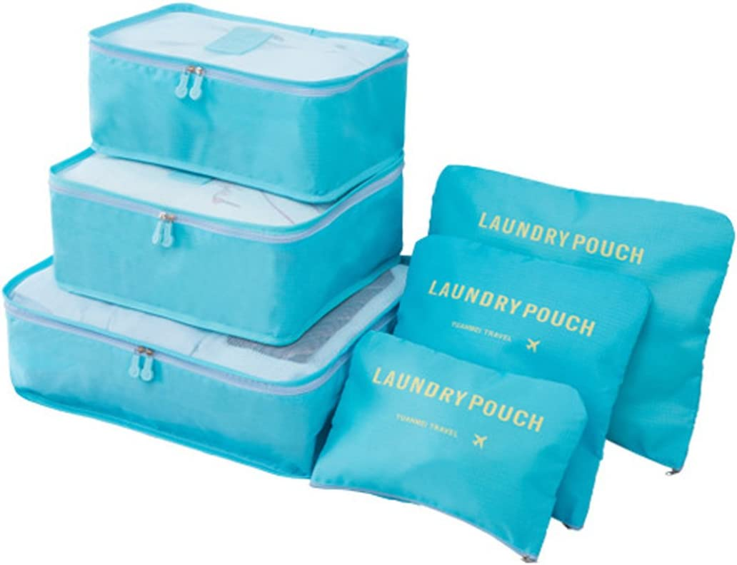 3 Bolsas de Almacenamiento+1 Saco de Zapatos.(Azul Oscuro) Organizador de Equipaje,LOSMILE 7 en 1 Set Impermeable Organizadores de Viaje para Maletas,3 Cubos de Embalaje