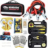 LIANXIN Car Emergency Kit - Road Rescue First Aid Kit for Automotive Safety Kit,Jumper Cable (122 Pieces),Multi-Purpose Tool Kit,Traction Rope,etc The Ultimate Product is Integrated for All Cars …