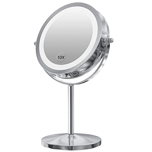 Gospire LED Makeup Mirror with Touch Screen Adjustable LED Light, 7 Inch Lighted Vanity Swivel Mirror 1x 10x Magnifying Double Sided Mirror Dimmable Switch