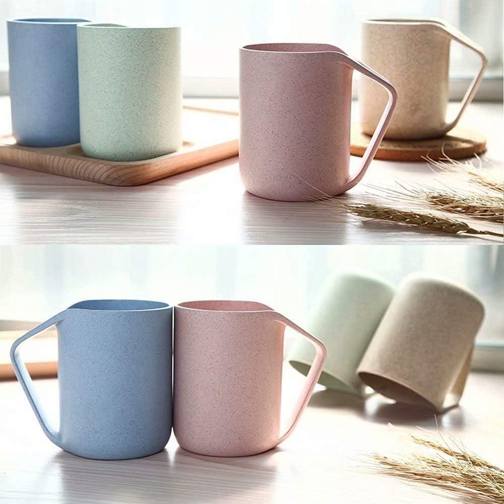 leicht Milch Gr/ö/ße 350 ml Beige//Gr/ün Kunststoffbecher f/ür Wasser Tee Jiliguala Retro-Becher aus umweltfreundlichem Weizenstroh Kaffee biologisch abbaubar