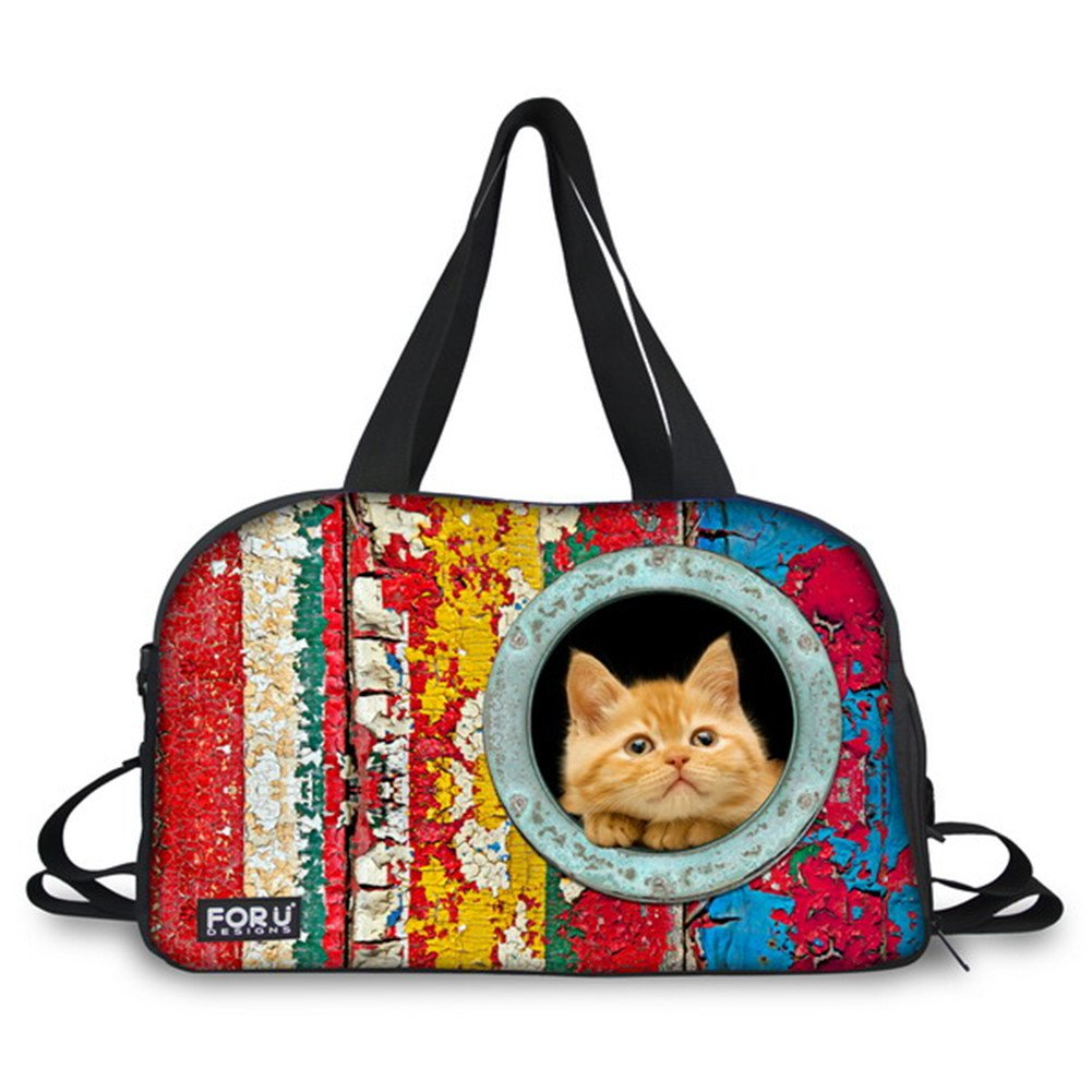 FOR U DESIGNS Colorful Cat Animal Travel Bag for Woman and Girls