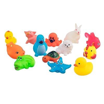 13pcs Juguetes de Animales Lindos Que Bañan Sonoros Sqeeze: Juguetes y juegos