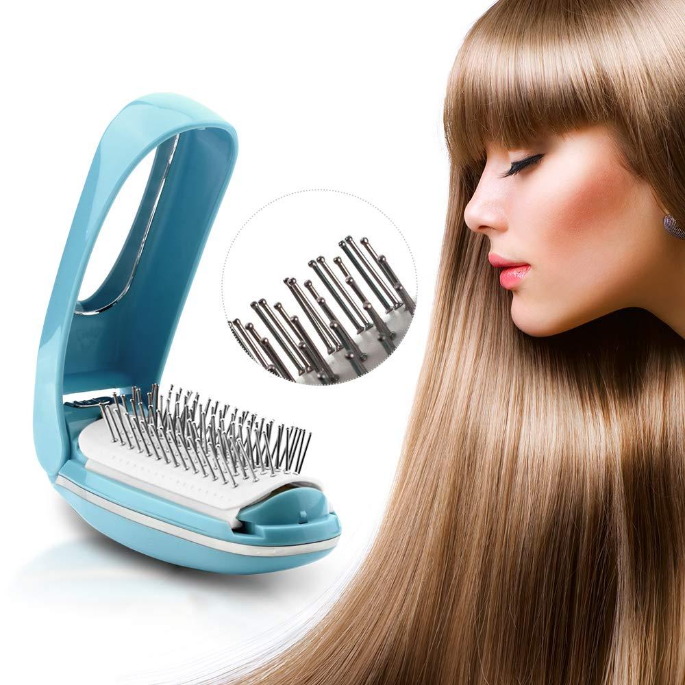 TOUCHBeauty Detangling Hair Brush Foldable Magic Hair Styling Comb for Women Vibration Scalp Massagers Hair Detangler Brush Anti-static built-in Mirror, Perfect Hair Scalp Treatments AS-1178