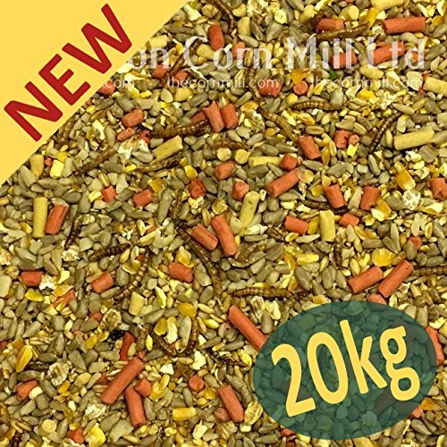 Croston Corn Mill 20kg 'Wheatsheaf' Gourmet Wild Bird Mix with Sunflower Hearts, Suet & Mealworms (High Energy - No Grow - No Mess)