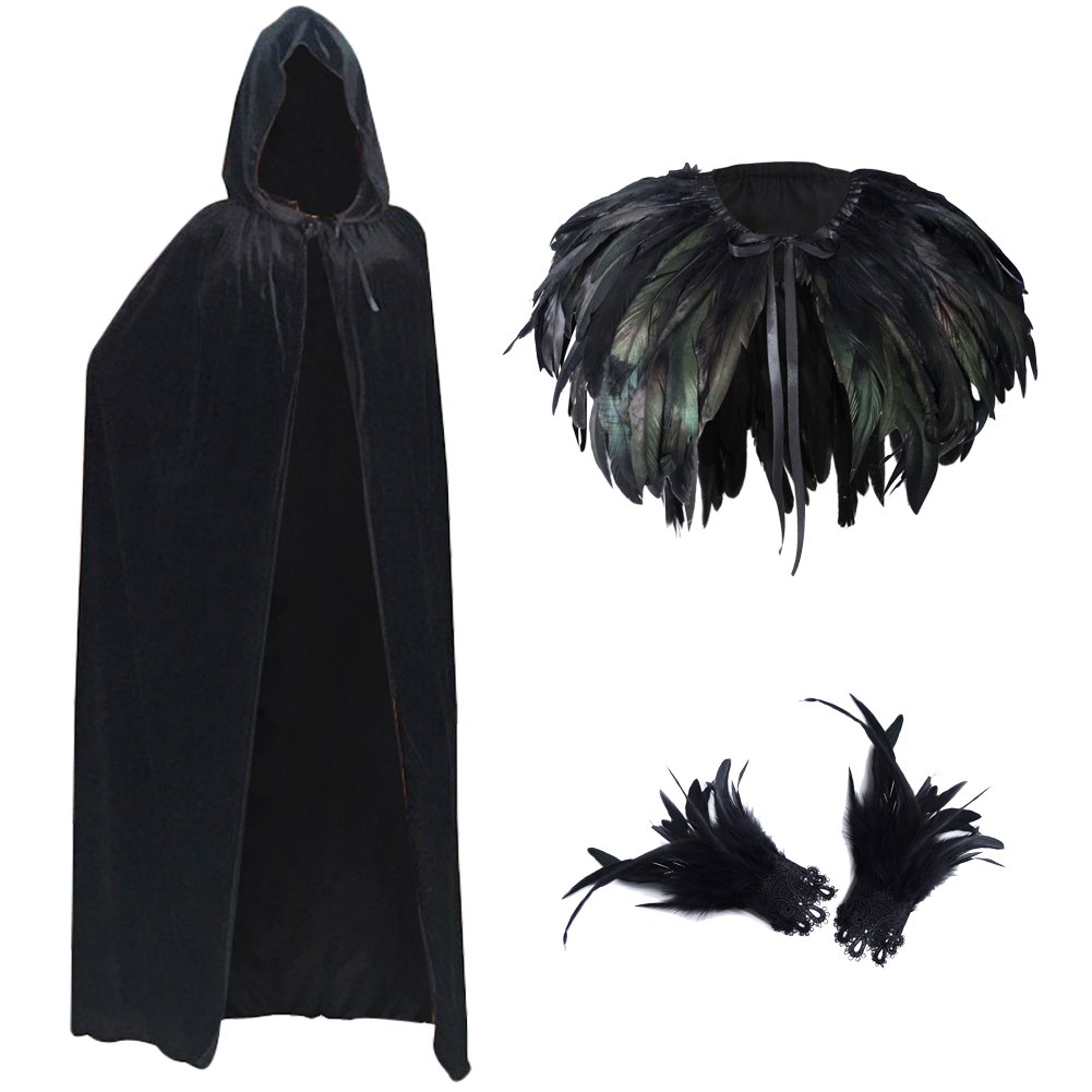 L'vow Fashion Gothic Hooded Womens Black Feather Cape Cuffs Cloak Long Coats Set (S)