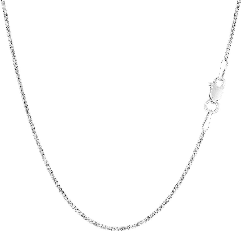 MCS Jewelry 14 Karat White OR Yellow Gold Round Diamond-Cut Wheat Chain Necklace 1.2mm Length: 16-30