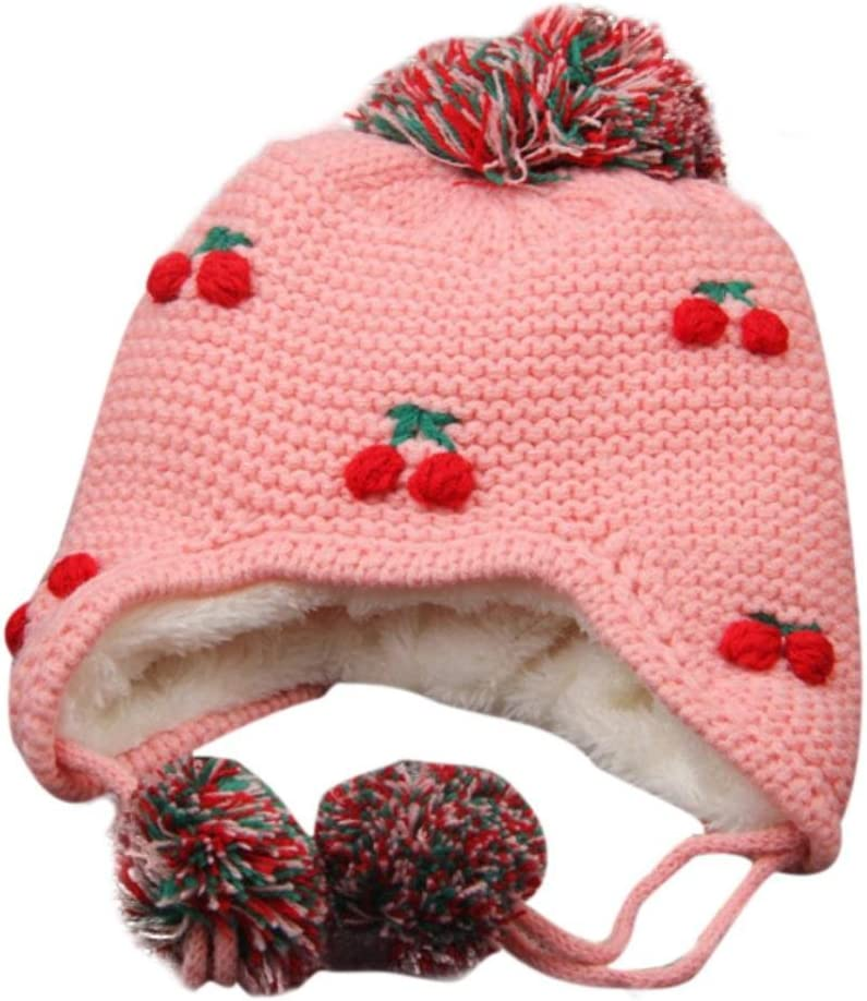 VENMO Cute Peach Knit Children Hat Warm Cap with Double Bobbles Pink Baby Girl Boy Ear flap Winter Hat