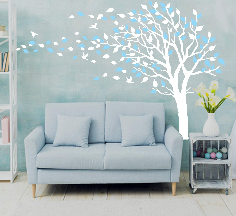 /árbol de ciruelo Sayala Adhesivo mural para habitaci/ón infantil pegatinas Azul decoraci/ón para el cuarto del beb/é cherry birlds